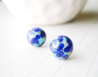 Blue Studs - Titanium Earrings, Turquoise Jewelry, Minimalist, Dainty, Small, Vintage Confetti Glass, Cobalt, Grey, Nickel Free Posts, Gray
