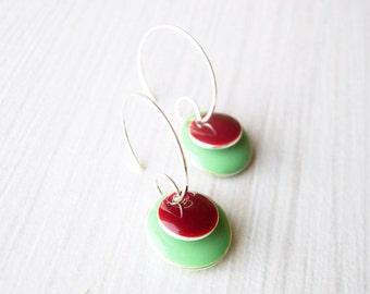 Mint Earrings - Modern Enamel Jewelry, Maroon, Oxblood, Silver Hoops, Green, Colorful, Funky, Geometric