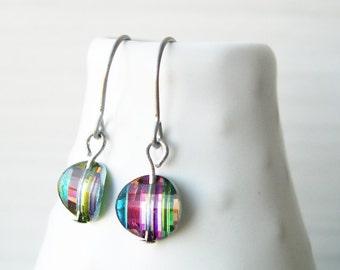 Dainty Drop Earrings, Simple Jewelry, Rainbow, Multicolor, Minimalist, Nickel Free Titanium, Multi Color, Dangle, Swarovski Crystal, Clip On