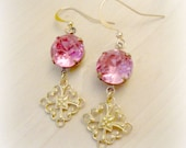 Gift for Teen Girl Art Nouveau Earrings Pink and Gold Filigree Jewelry Gifts Under 25 Holiday Gift Guide