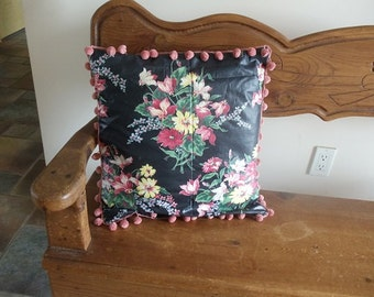 Vintage Pillow Black Floral Chintz Cotton Fabric with Pom Pom Trim 15 Inch  Square Newly Handmade