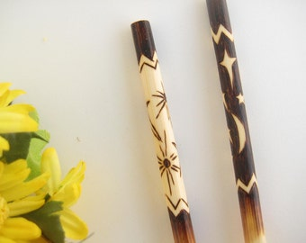 Bamboo Chopsticks, Sun and Moon, Black and White, Asian Serving, Wood Anniversary Gift, Personalized Chopsticks, Pyrography Art Chopsticks