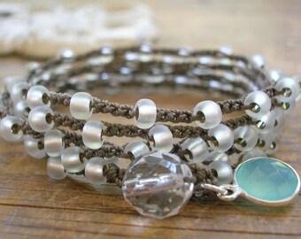 Frosty white crochet wrap bracelet - Mist - Crochet jewelry boho long necklace, aqua chalcedony charm dangle, beach jewelry bohemian