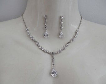 Cubic Zirconia Bridal Necklace and Earrings Set, Bridesmaids Necklace and Earrings Set, Wedding Jewelry #N473B