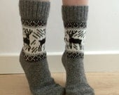 READY TO SHIP Wool Socks Elk Reindeer Buck Grey and White Scandinavian Christmas Fair Isle