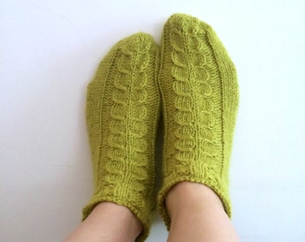 Luxury Alpaca Short Socks Slippers with Cables in Dark Lime. Variety of colours available