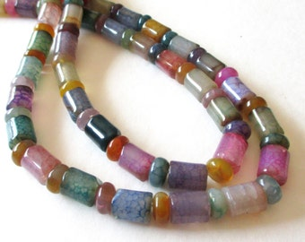 """Tube Rondelle Agate Beads - Mix Color Beads - Agate Smooth Cylinder Beads - Wheel Barrel Stone - 7.5"""" Strand Gemstone - DIY Jewelry Making"""