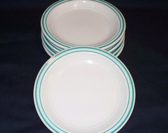 Sterling China Restaurant Ware Bread Plates - Teal Bands  (1265-1)