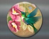 "hummingbird art magnet - hummingbird decor for kitchen - gardening gifts for mom - 3.5"" fridge magnet MA-1922"