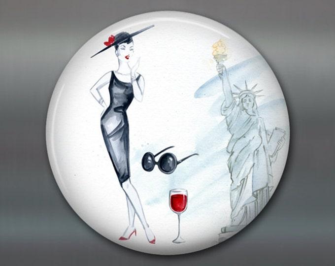 "3.5"" fashion art magnet, new york, broadway decor womens fashion magnet kitchen decor, house warming gift, big magnet for fridge MA-FASH-8"