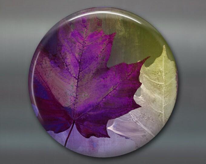 """3.5"""" colourful leaves magnet autumn decor, fridge magnet, fall leaves decor, purple decor, kitchen decor housewarming gift MA-358"""