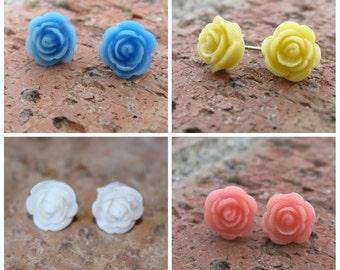 PETITE SERIES - 8mm Rose Earrings  . . . Buy 3 Get 1 FREE . . . Nickel Free Earrings, Surgical Steel, Cabochon Earrings