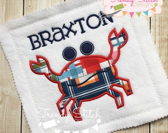 Crabby Applique Machine Embroidery Design INSTANT DOWNLOAD Crab