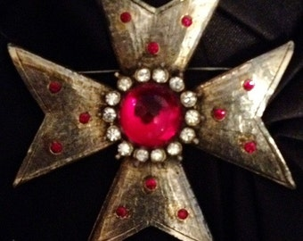 Maltese Silver Cross Brooch With Red Gem and Rhinestones