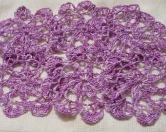 crocheted doily hand dyed thread purple handmade decor wedding gift