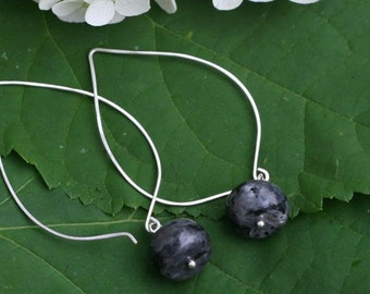 Long Sterling Silver Hoop Ear Wires with Hand Wrapped Labradorite Rondelle Stones