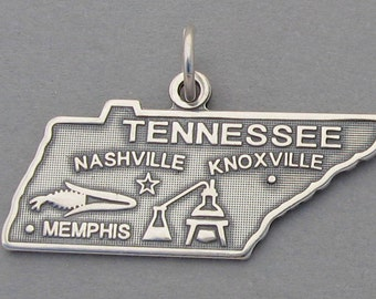Sterling Silver .925 Charm Pendant TENNESSEE State Map SC641