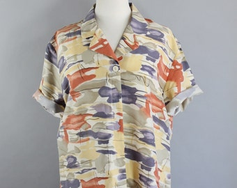 SALE - Vintage 80s Womens Orange Gray Mid Century Modern Silk Short Sleeved Casual Shirt Blouse