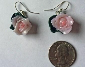 Set of Handmade Pink Rose Earrings (2)