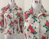 Vintage 1950s rose print fitted peplum blouse - Extra Small