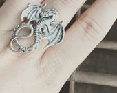 Dragon Ring / Renaissance Festival Costume Cosplay Wedding Bridesmaids Bridal Party Gift / LARP Faire Lover Favors Antique Silver Wing