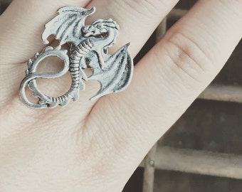 Dragon Ring / Adjustable Dragon Ring / Antique Silver