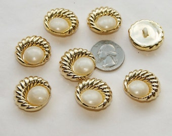 8 Buttons Gold White, White Center, Gold Wrap Shank Back Buttons  (O 20)