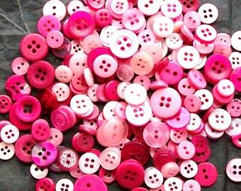 300 Buttons, Small Pink Mix Buttons, SMALL MEDIUM, Berry Blend Buttons, Small buttons (255 C)