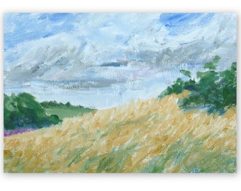 Meadow, small original landscape painting, acrylic, 5x7 inches