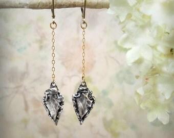 Arrowhead Earrings Mixed Metal Earrings Simple Dagger Earrings Spike Spear Earrings Sterling Silver 14K Gold Fill Minimalist Drop Earrings