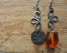 Asymmetrical Mismatched Earrings, Upcycled Charm Earrings, Ancient Coin Earrings, Tribal Earrings, Hippie Rustic Earrings, Recycled Jewelry