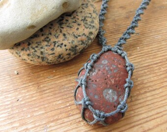 Beach Stone Macrame Necklace, River Rock Pendant, Surfer Island Girl Jewelry, Lithuanian Baltic Sea, Curonian Spit, Hippie Boho Gypsy Chic