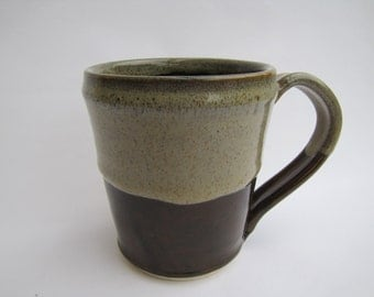 Large Coffee or Tea Mug in brown with speckles birch on rim and top half