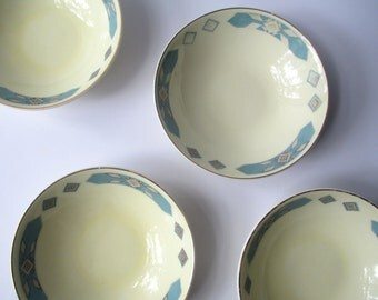 Vintage Dessert Bowls WS George Cavitt Shaw Blue Cherokee Set of Four
