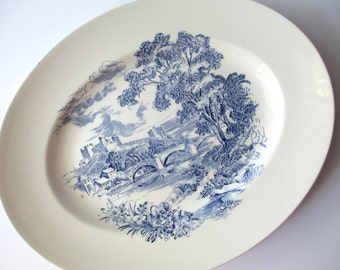 Vintage Blue and White Serving Platter Wedgwood Countryside