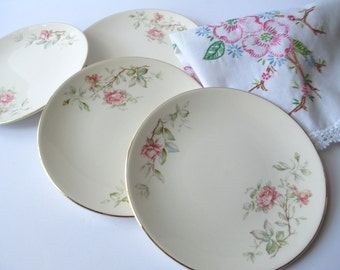 Vintage Knowles Romance Pink Rose Bread and Butter Plates Set of Four
