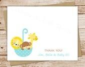 umbrella safari baby boy thank you cards - set of 8 - folded personalized stationery - monkey, lion, giraffe - choose colors & font