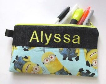 Handmade pencil bag with zipper - Pick the fabric - gift for kids - Superheros - embroidery name - monogram custom order - storage bag