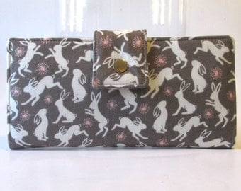 Handmade women wallet - Dancing happy bunny in brown - Cute bunnies - Custom order - clutch purse - Gift ideas for her