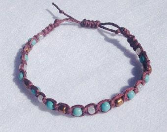 Turquoise on Brown Macrame Bracelet