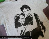 Heathers movie shirt JD and Veronica 80s t-shirt original stencil art spray painted by Rainbow Alternative