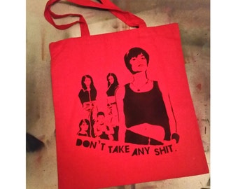 Foxfire movie tote bag stencil and spray paint art by Rainbow Alternative on Etsy feminist art feminism 90s