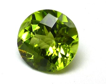 Peridot Loose 7mm Gemstone Brilliant Checker Cut Round AAA Grade Acid Granny Apple Green August Birthstone Engagement Ring Rings Stacking