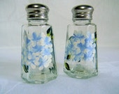 salt and pepper shakers-painted salt and pepper shakers-painted hydrangeas-light blue