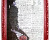vintage dictionary art ink print 7.75x10.75 inches - cowboy bebop spike spiegel with roses dictionary page prints on dictionary paper