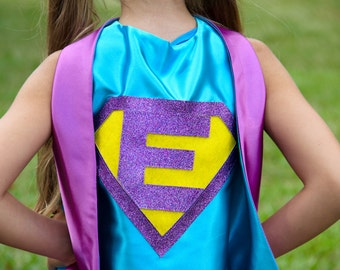 Girls Sparkle Custom INITIAL SUPERHERO CAPE - Ships Fast - Girls Halloween Superhero Costume Cape - Custom Initial - 6 color choices