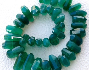 Brand New, 7 Inch Long Strand, GREEN ONYX Chalcedony Center Drilled Nuggets, Super 10-14mm Long size,GORGEOUS