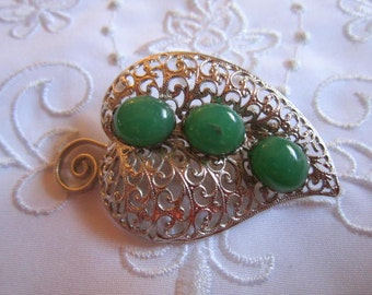 Vintage Silver Tone Openwork Leaf Brooch with Three Faux Green Jade Glass Beads