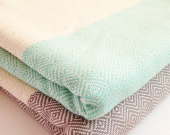 Sky Handwoven Turquoise Beach Towel