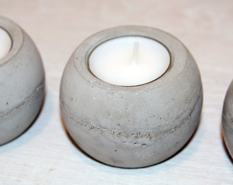 Round Concrete Tea Light Candle Holder - Set of 4
